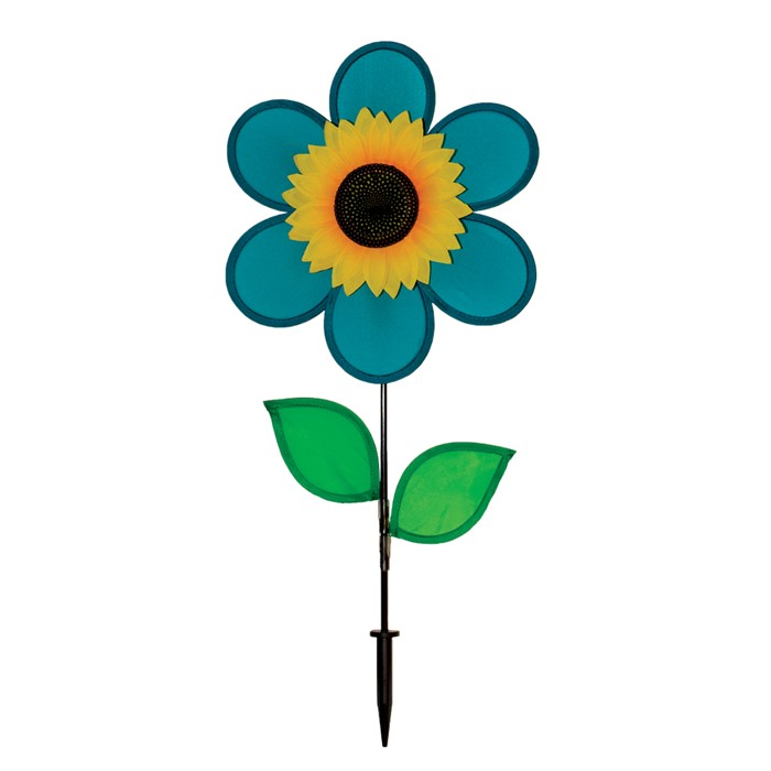 12 Teal Sunflower With Leaves World Of Windsocks